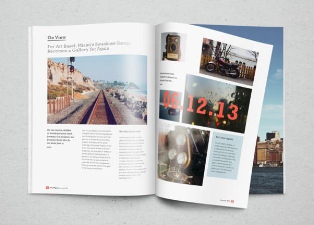 Mockup revista com fotos Psd grátis