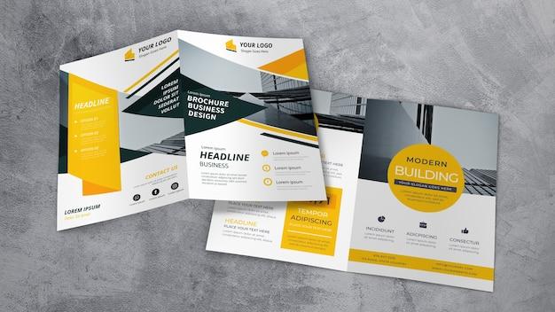 Mockup de showroom de folleto PSD Premium