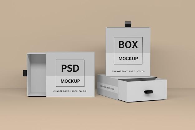 Mockup-sjabloon met drie vierkante witte geschenkdozen geopend en gesloten Premium Psd