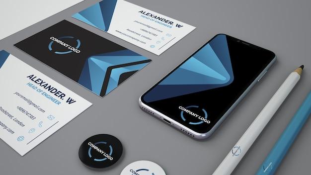 Mockup stationery con smartphone PSD gratuito