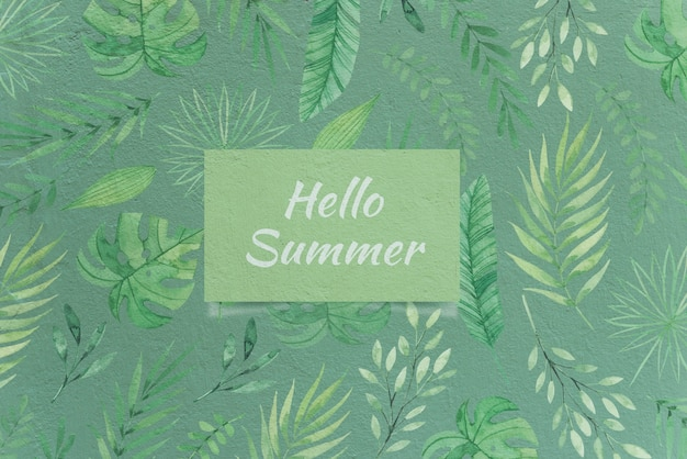 Mockup de tarjeta de hello summer con concepto de naturaleza PSD gratuito