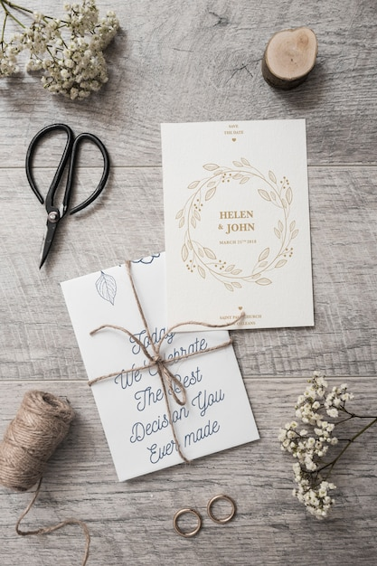 Mockup de tarjeta de invitación de boda PSD gratuito
