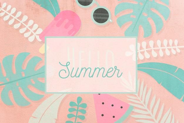 Mockup tropical de tarjeta de hello summer PSD gratuito