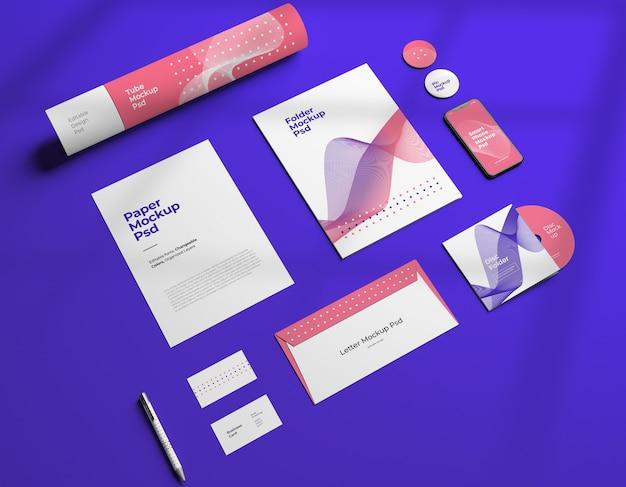 Mockup van corporate stationair merkontwerp met veranderlijke kleuren Premium Psd