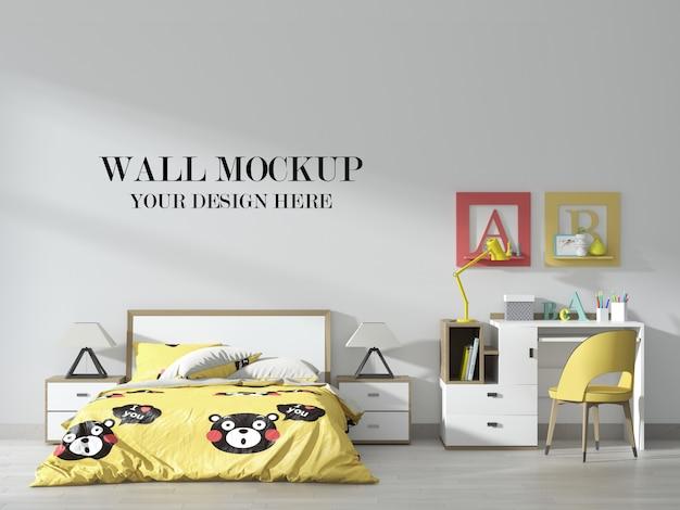 Mockup van de muur van de slaapkamer van de tiener met geel accentbinnenland Premium Psd
