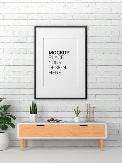 Mockup van fotolijst die aan de muur hangt Premium Psd