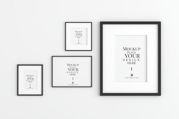 Mockup van fotolijsten die aan de muur hangen Premium Psd