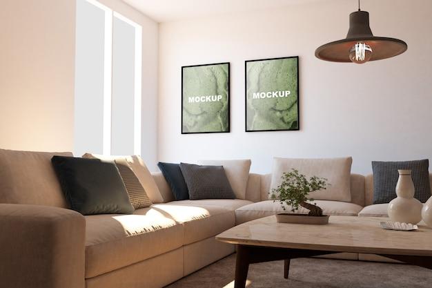 Mockup van frames in de woonkamer Gratis Psd