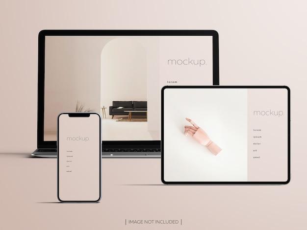 Mockup van geïsoleerde responsieve apparatenschermen Premium Psd
