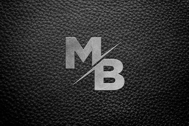 Mockup van leer metallic logo Premium Psd
