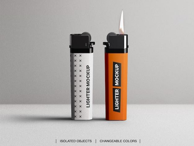 Mockup van plastic gasaansteker met geïsoleerde vlam Premium Psd
