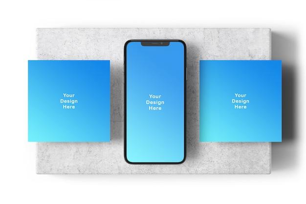 Mockup van telefoonscherm en vierkante banners Premium Psd