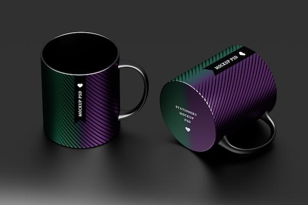 Mockup van twee zwarte mokken met bewerkbaar oppervlak Premium Psd