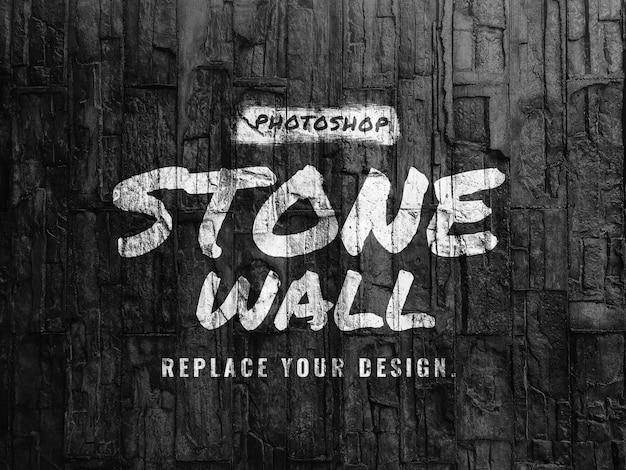 Mockup van zwarte stenen muur Premium Psd