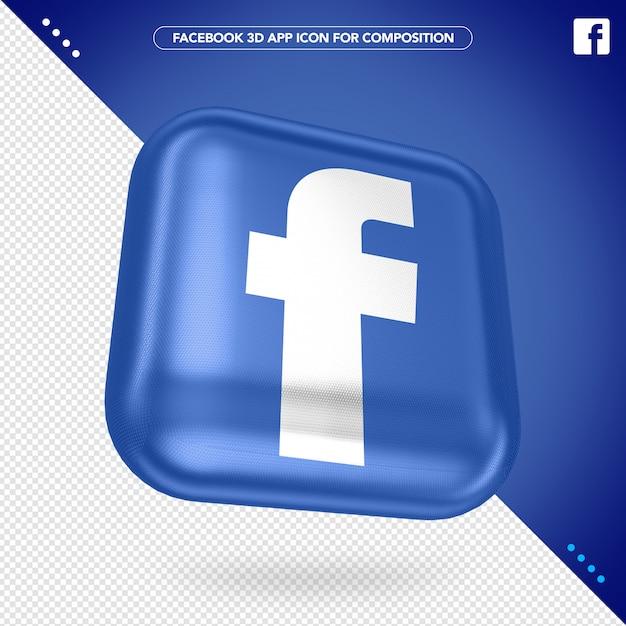Mockup voor facebook 3d-toepassingsknop Premium Psd