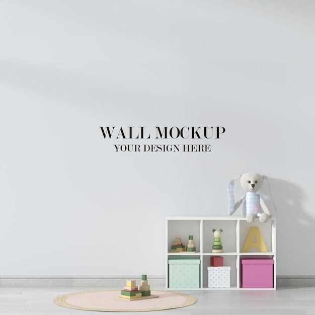 Mockup voor kinderkamer, interieur versierd met speelgoed Premium Psd