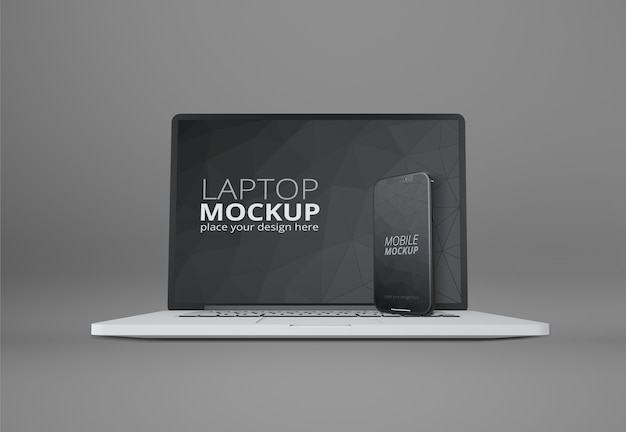 Mockup voor laptop en slimme telefoon Premium Psd