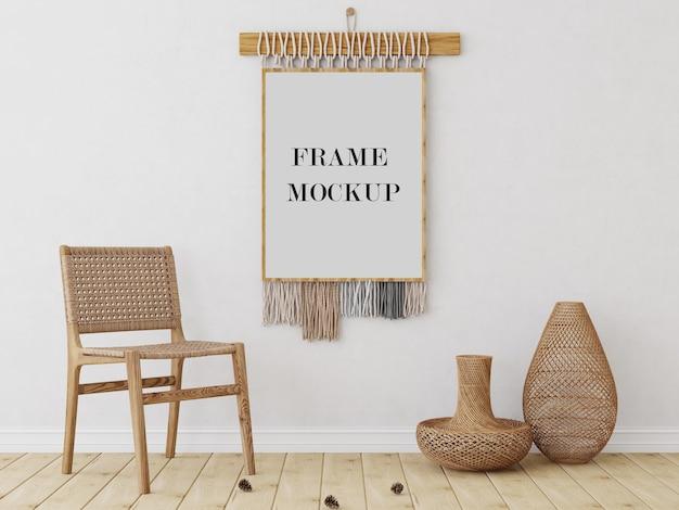 Mockup voor muurframe in tribale stijl met stoel Premium Psd