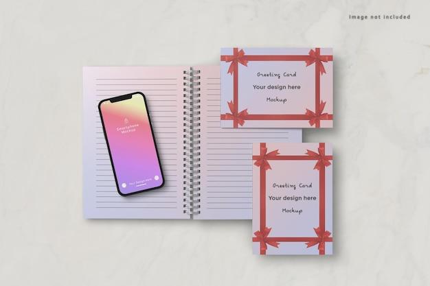 Mockup voor smartphone en wenskaart Premium Psd