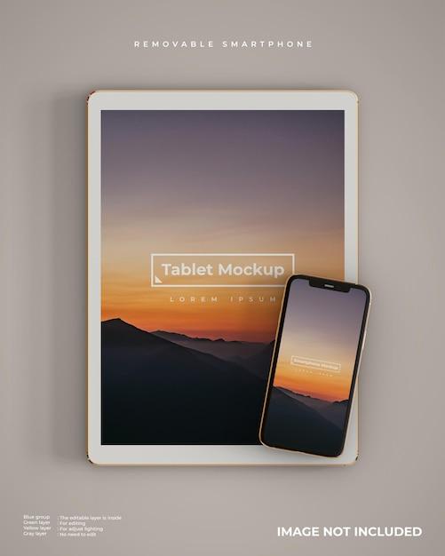 Mockup voor tablet en smartphone Gratis Psd