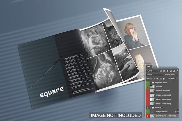 Mockup voor vierkante tijdschriften geopend Gratis Psd