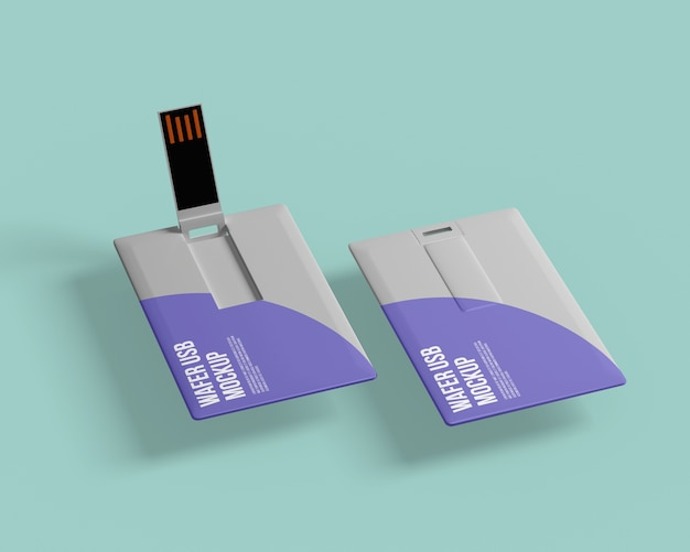 Mockup voor visitekaartje usb flash drive Premium Psd