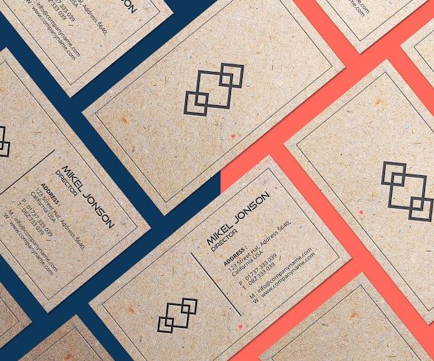 Mockup voor visitekaartjes met meerdere papierstijlen Premium Psd