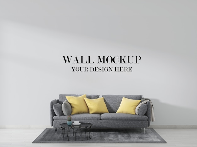 Mockup voor woonkamermuur, interieur versierd met grijze bank en gele kussens Premium Psd