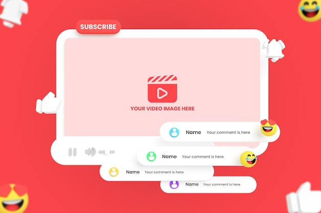 Mockup voor youtube-videospeler met emoji's Premium Psd