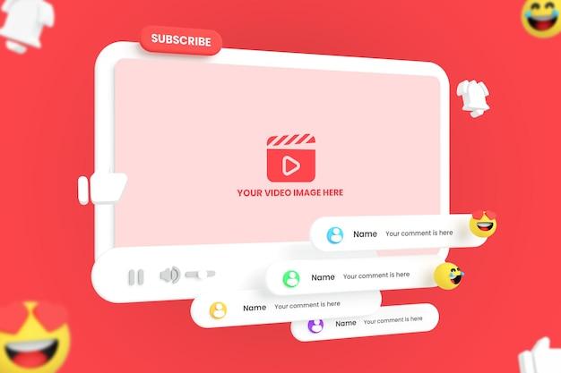 Mockup voor youtube-videospeler voor sociale media met emoji's Premium Psd