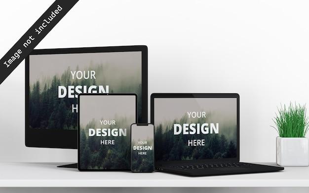 Mockup vooraanzicht van meerdere apparaten Premium Psd