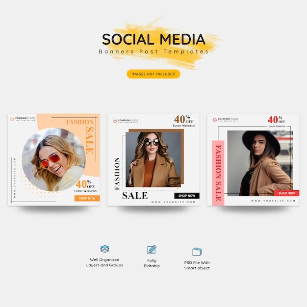 Mode en mega sale social media banner Premium Psd