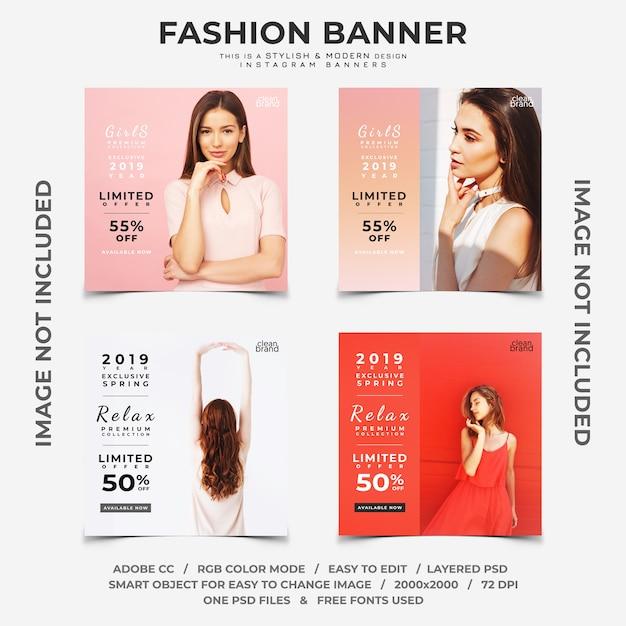 Mode evenement kortingen instagram banners Premium Psd