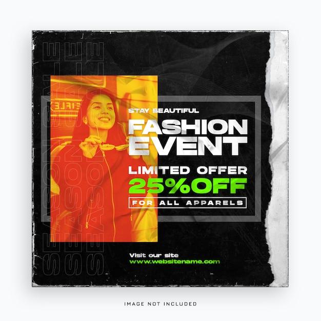 Mode evenement verkoop sociale media sjabloon voor spandoek Premium Psd
