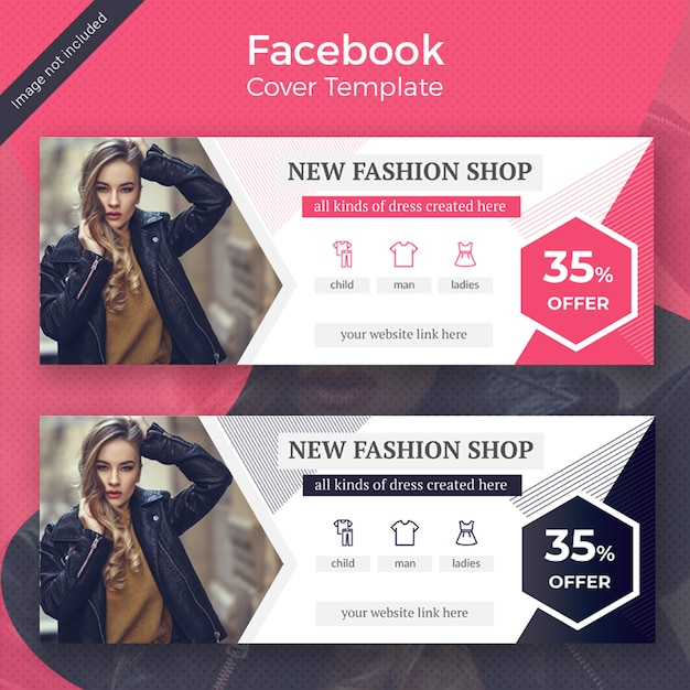 Mode facebook cover template design Premium Psd