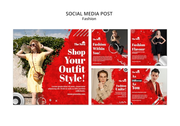 Mode instagram-pakket Gratis Psd