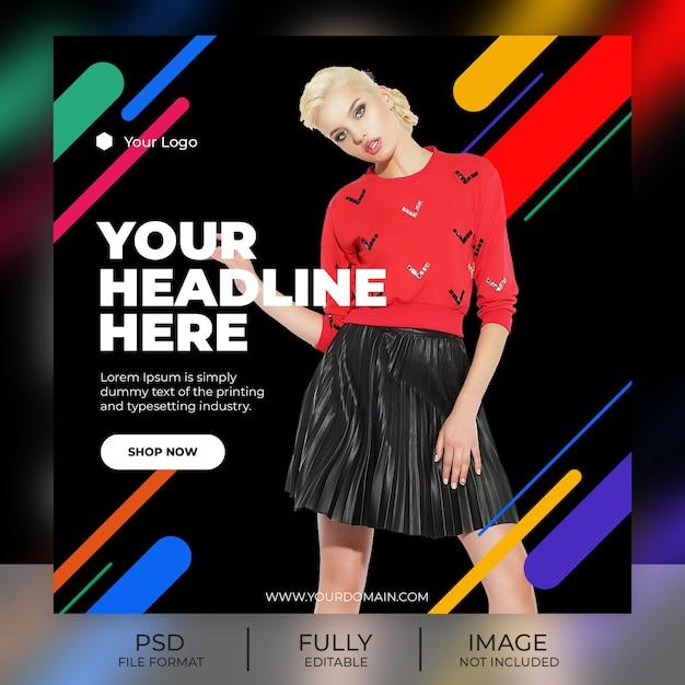 Mode instagram post sjabloon banner Premium Psd