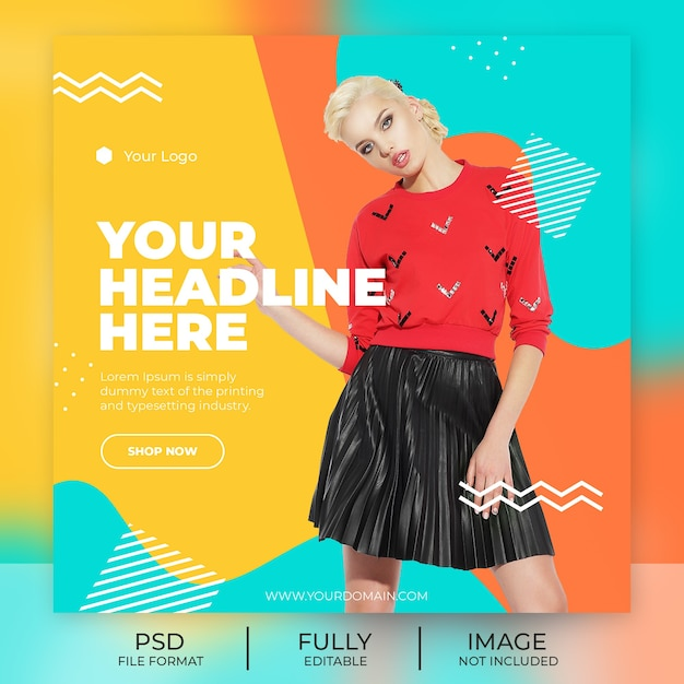Mode instagram post sjabloon banner Premium Psd