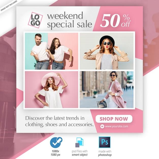 Mode instagram postsjabloon webbanneradvertentie Premium Psd