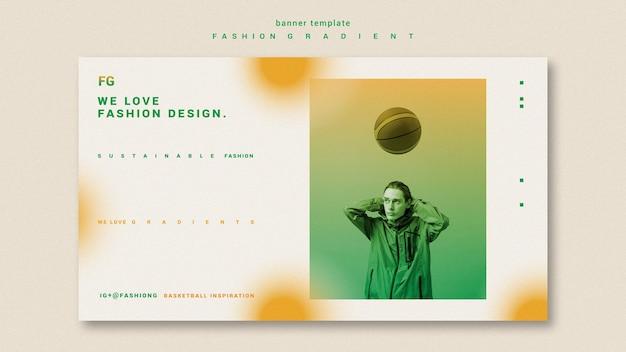 Mode kleurovergang horizontale banner sjabloon Gratis Psd