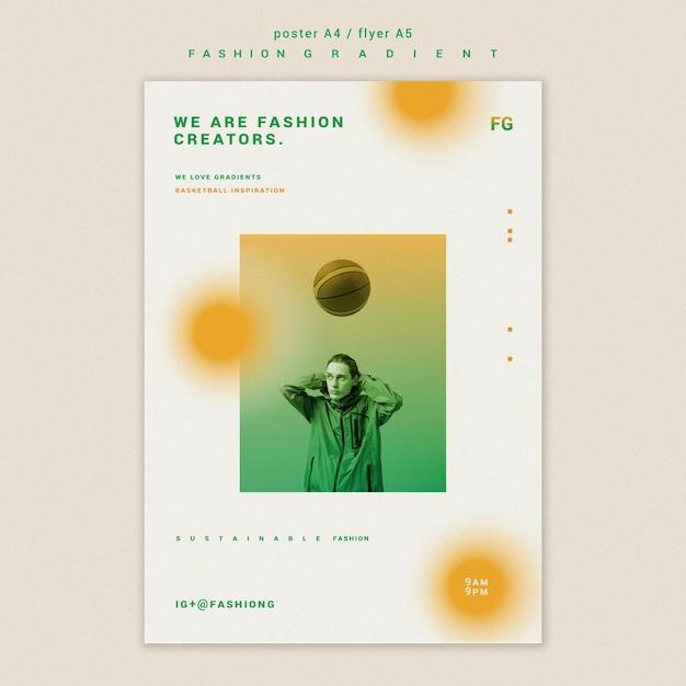 Mode kleurovergang poster sjabloon Gratis Psd