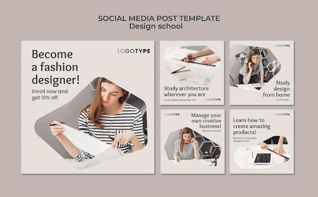Mode ontwerp school sociale media post-sjabloon Premium Psd