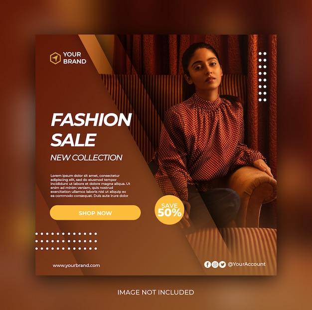 Mode verkoop banner of vierkante flyer voor social media postsjabloon Premium Psd