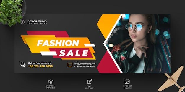 Mode verkoop facebook tijdlijn cover en banner sjabloonontwerp Premium Psd