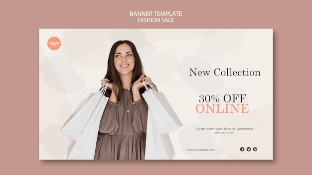 Mode verkoop horizontale banner sjabloon Gratis Psd