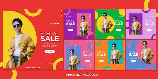 Mode verkoop instagram post sjabloonverzameling Premium Psd