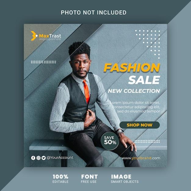 Mode verkoop promotionele sociale media post vierkante sjabloon voor spandoek Premium Psd
