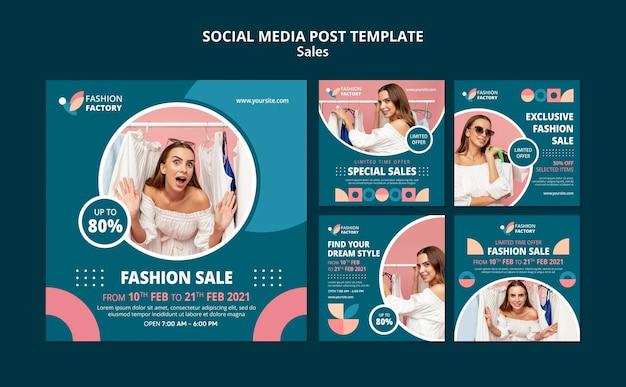 Mode verkoop sociale media post sjabloon Gratis Psd
