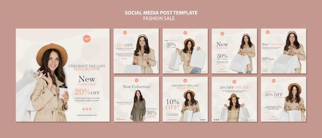 Mode verkoop sociale media posts sjabloon Gratis Psd
