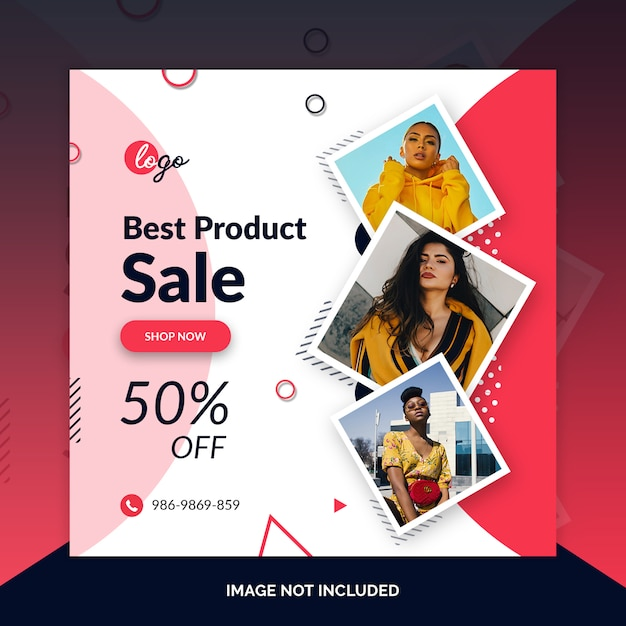 Mode winkel instagram post, vierkante banner Premium Psd